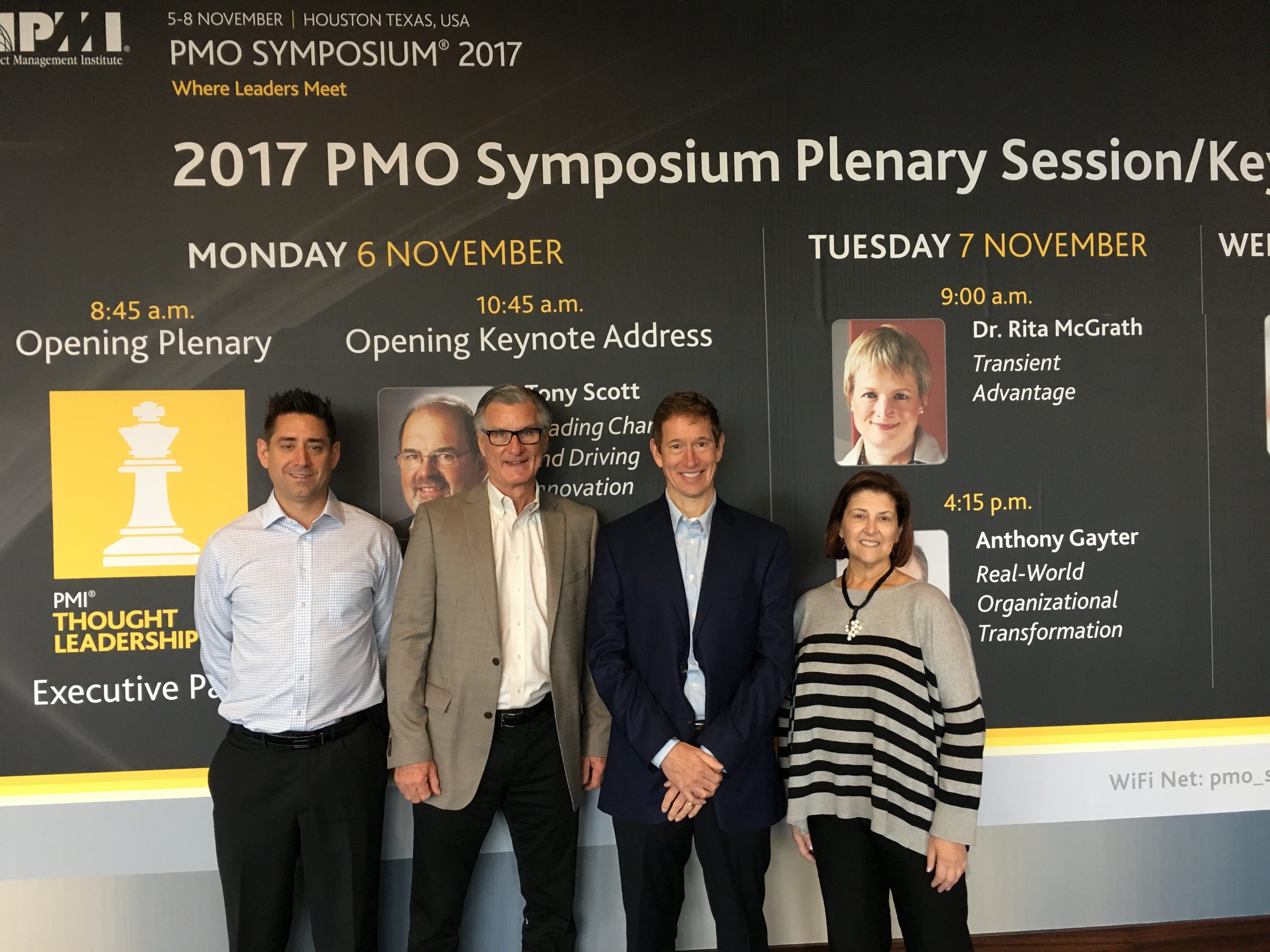 Our PMO Symposium team, l to r: Matt Crawford, Kent Crawford, Bruce Miller, Johanna Mickel
