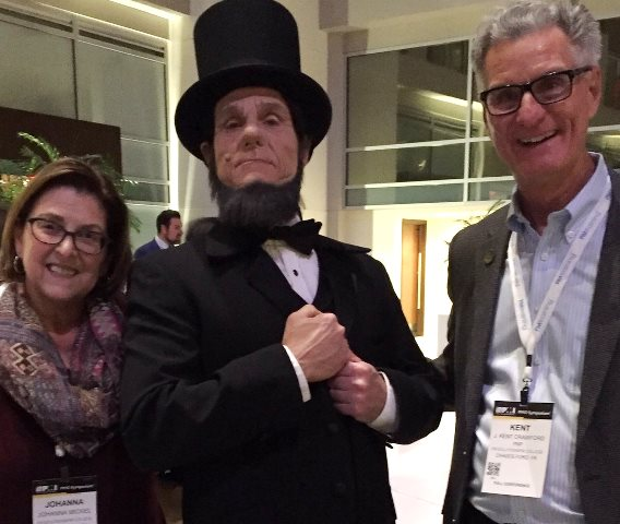 The author with Honest Abe and our CEO J. Kent Crawford